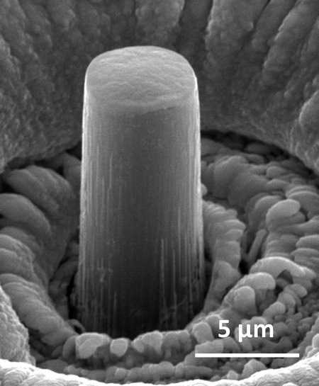 Lithium-'zuil' op micrometerschaal (foto: Julia R. Greer)