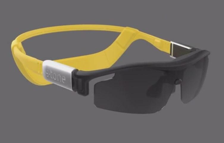 Sportbril met muziekweergave via botgeleiding