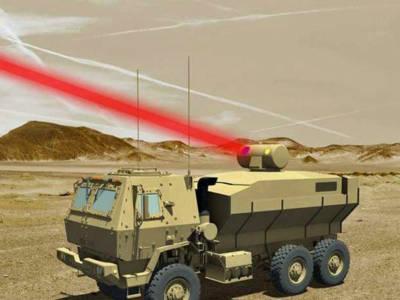 Rendering van een op een militair voertuig gemonteerd 60kW-laserwapen voor het Amerikaanse leger. Afbeelding: Lockheed Martin